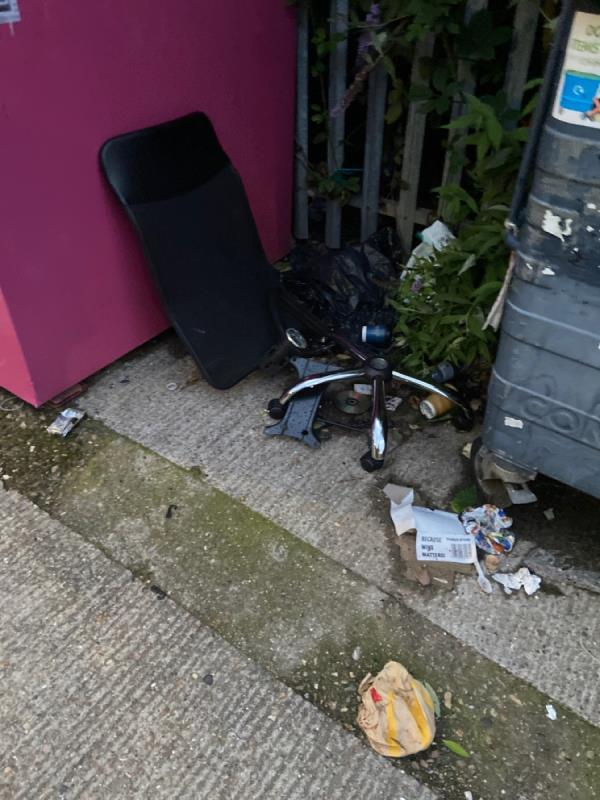 Broken office chair at Rayleigh Road recycling point -Henry Purcell House, 119 Evelyn Road, North Woolwich, E16 2BE