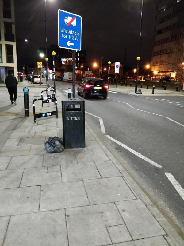 Dumped black bag of rubbish on the pavement beside 64 Leytonstone Road E15-64 Leytonstone Road, London, E15 1SQ