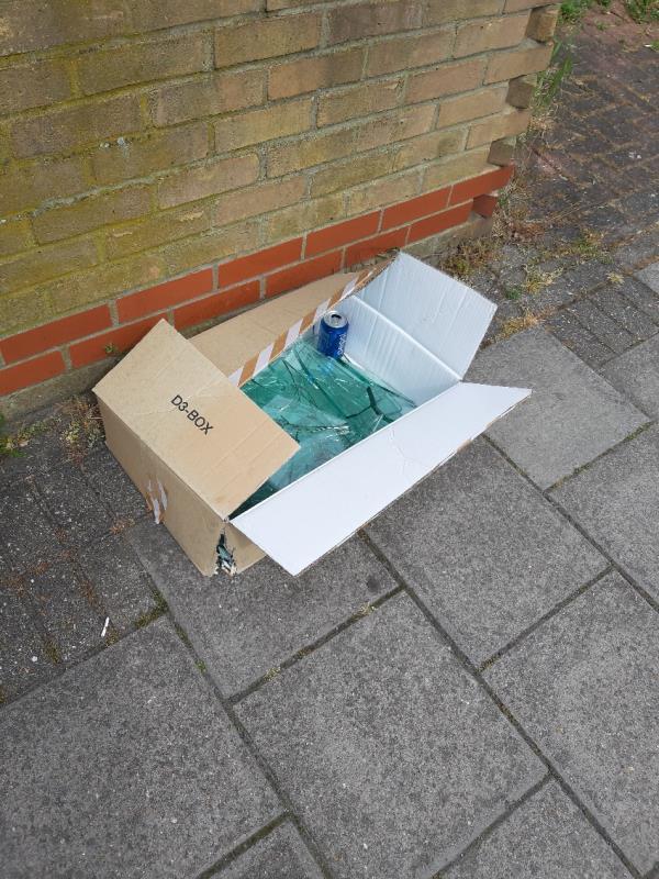 Broken glass in cardboard box-74 Arragon Road, London, E6 1QP