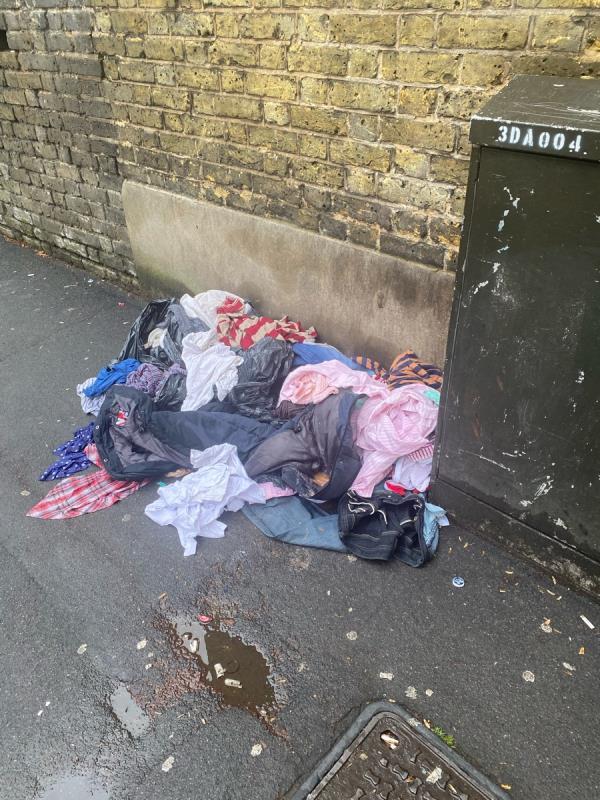 Clothes dumped -45 Caledon Road, East Ham, E6 2BE