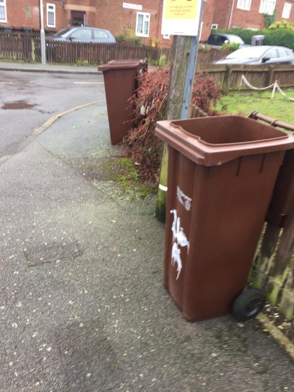 Three abandoned brown bins on corner of Prince Charles road. Resident complaint-24b Prince Charles Road, Wolverhampton, WV14 8EG