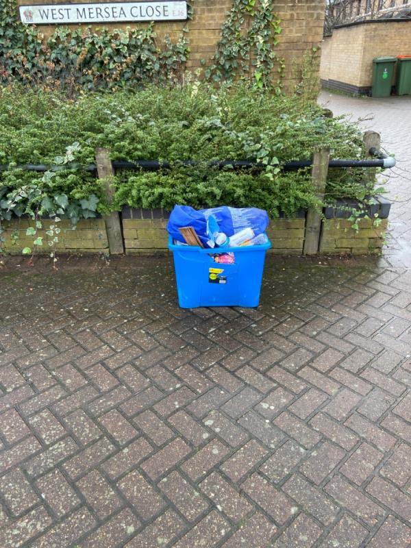 Box of random crap dumped at entrance to West Mersea close-1 West Mersea Close, London, E16 1UA