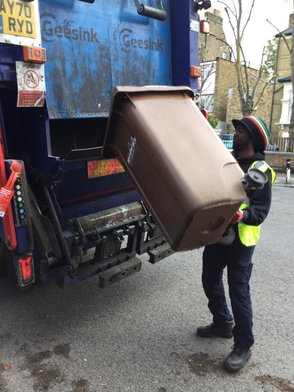 Emptied bin and destroyed bin image 2-66 Wickham Road, Honor Oak Park, SE4 1LS