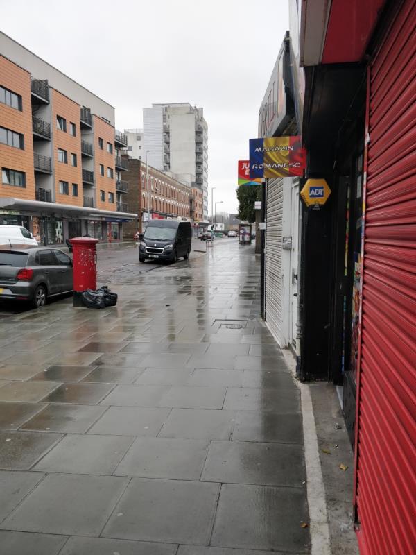 Dumped bags of rubbish on the pavement beside 85 Leytonstone Road E15-89a Leytonstone Road, London, E15 1JA