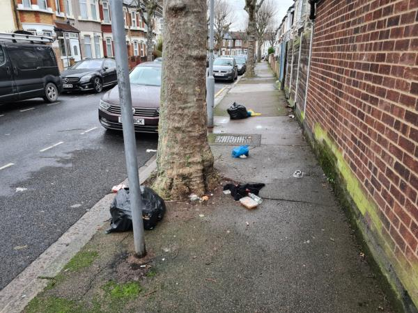 Yet more rubbish dumped by tree near corner of Goldsmith Avenue and Essex Road-44 Essex Road, Manor Park, E12 6RE