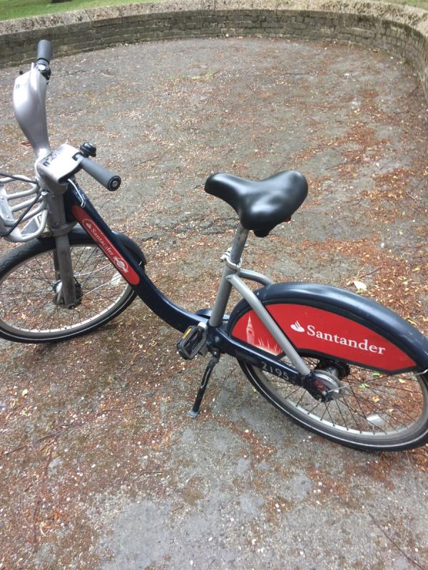 Hire bike left outside block-Keppel House Grove Street, London, SE8 3LU