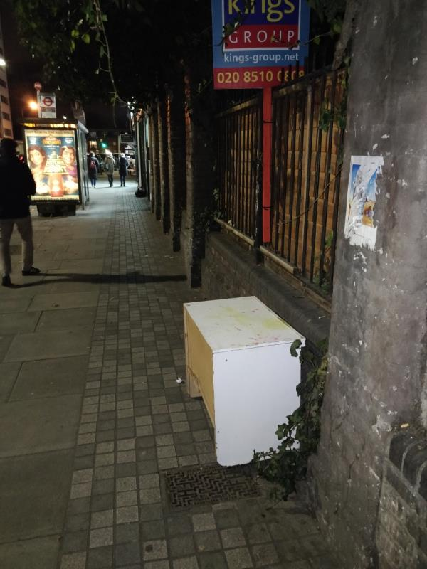 Dumped household item on the pavement beside 67 Leytonstone Road E15-67 Leytonstone Road, London, E15 1JA