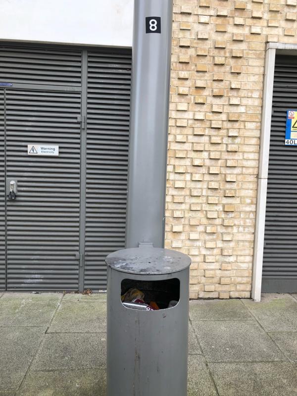 Bin full next to pelican crossing -17 Liberty Bridge Road, London, E20 1AS
