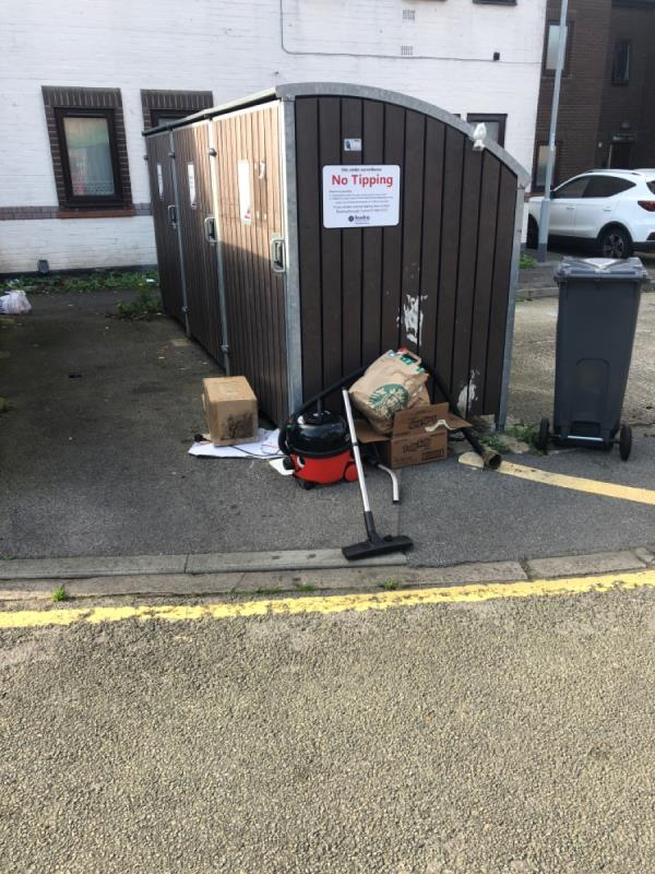 Rubbish dumped on the outside of the bins.-36 Saint Giles Close, Reading, RG1 2SA