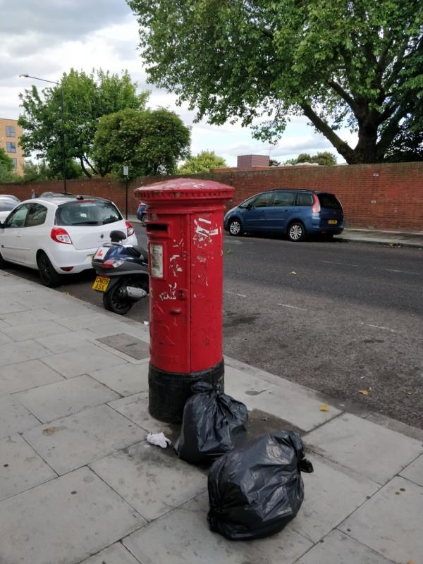 Bags of rubbish on the pavement beside 85 Leytonstone Road E15-85a Leytonstone Road, London, E15 1JA