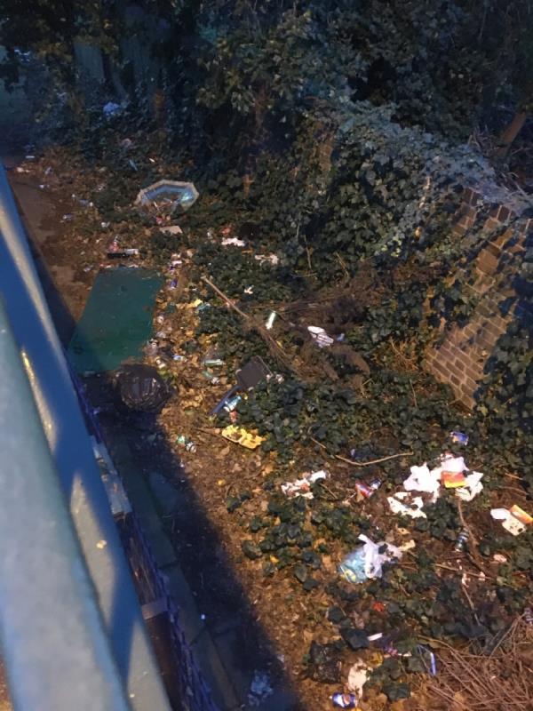 Litter beginning to pile up again underneath the green footbridge. Earlham grove end of bridge-6 Forest Ln, Forest Gate, London E7 9BG, UK