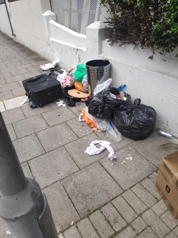 Rubbish on corner of Lucas avenue and Harold road-89 Harold Rd, London E13 0SG, UK