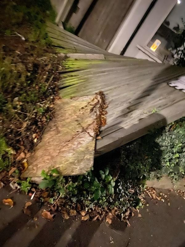 Corner of Seaford Road and Leeland. The fence has fallen. I have been reporting this for many months, probably since before the pandemic that this fence was falling and its fallen.   Plus there is a mattress next to it if you fancy a kip -5 Seaford Road, West Ealing, W13 9HP
