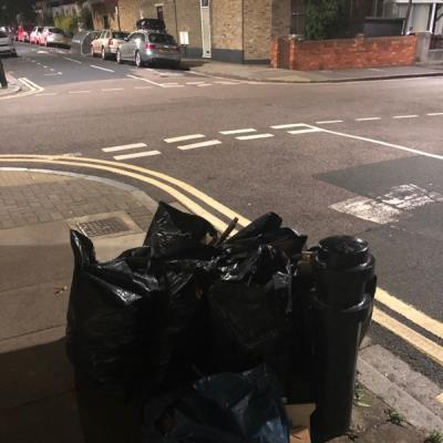 Builders' waste dumped here. -20 Ashenden Road, London, E5 0DP