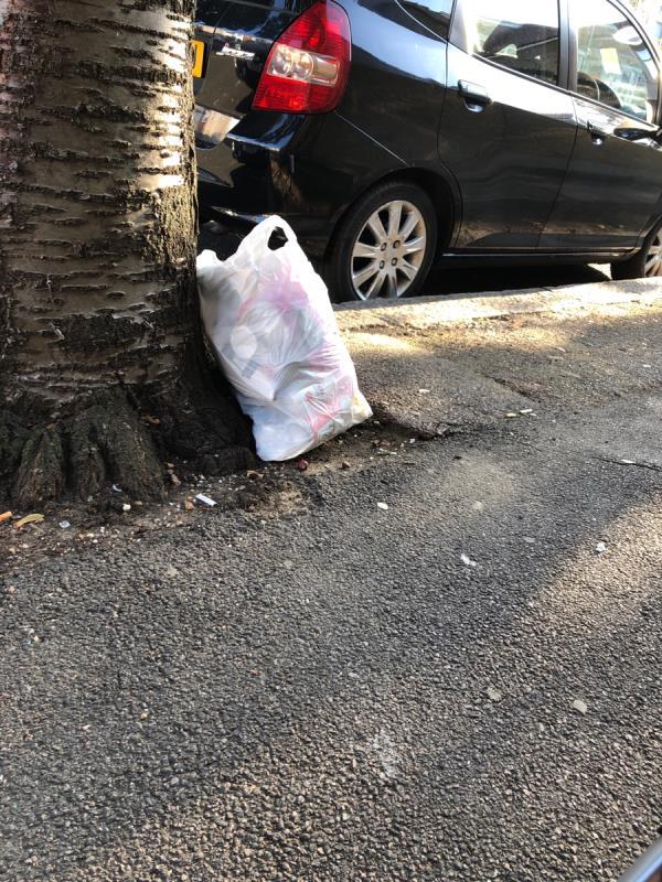 White bag full of household waste - round the corner, on Fawn rd-10 Ravenhill Rd, Upton Park, London E13 9BN, UK