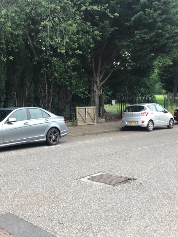 Dumped gate on Church Hill opposite junction with Churchill Avenue.-24 Church Hill, Aldershot, GU12 4RQ