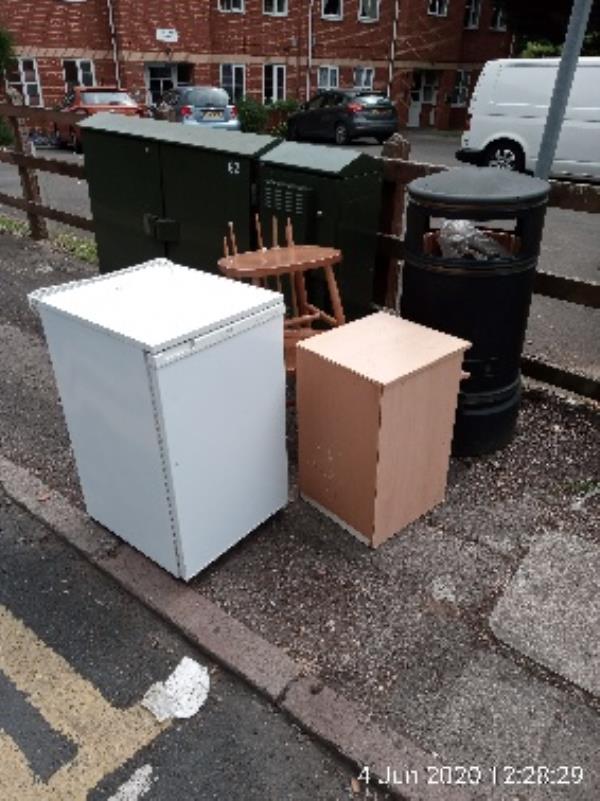 Fridge and furniture at litter bin near Cranford mews -4a Berkeley Avenue, Reading, RG1 6JE