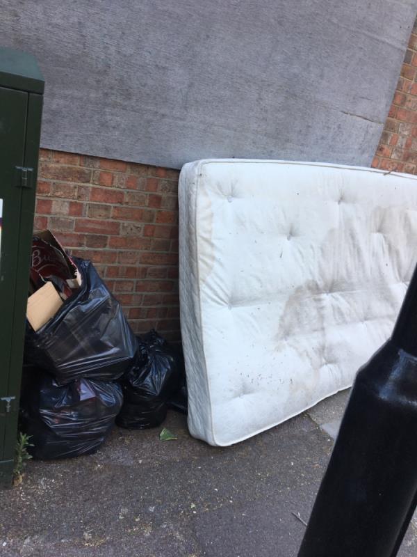 Mattress, bin bags and other rubibish -1a Creighton Avenue, London, E6 3DS