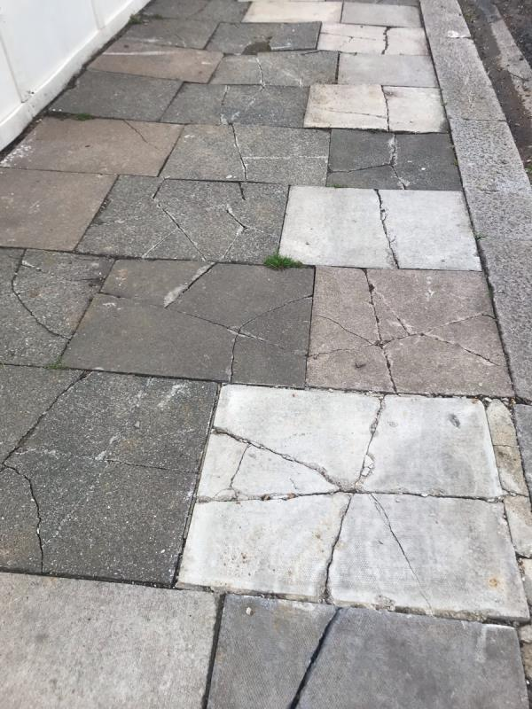 Smashed broken rocking pavement due to on going building works on Oakfield Gardens junction Locarno Road Ub6  image 1-17 Locarno Road, Greenford, UB6 8SN
