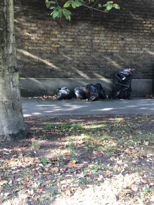 Brookmill Rd opposite recycling Bins bags of rubble -50 Saint John's Vale, London, SE8 4EN