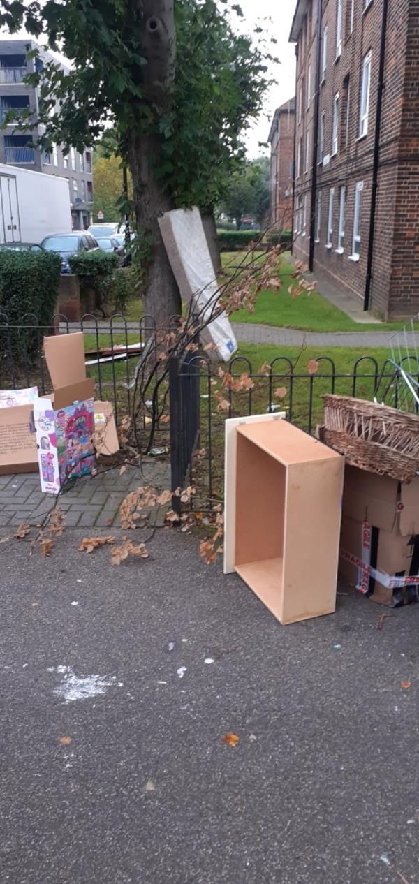 A mattress and broken furniture -32 Barville Close, Brockley, SE4 2LL