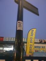 cycle sign on lamp column dislodged image 1-24 Haliday Square, Southall UB2 4UG, UK