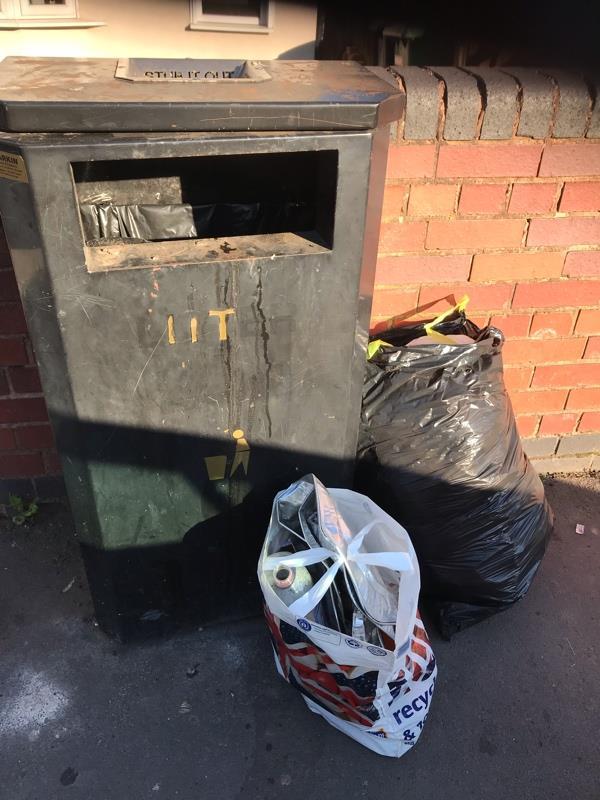 Rubbish dumped next to public bin outside 190 Lunt Road Bilston. AGAIN !-190 Lunt Road, Bilston, WV14 7BE