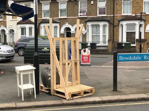 Wooden frame etc - Brookdale Road jw Wildfell Road -70a Brookdale Road, London, SE6 4JP