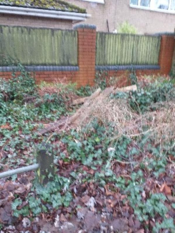 all rubbish in bushes plastic box fence posts etc-26 Wren Way, Farnborough GU14 8SZ, UK