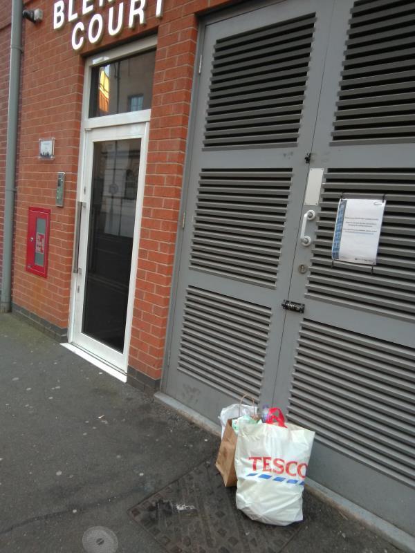 Fly-tipping outside Blenheim Court, Church Street-2 Church Street, Leicester, LE1 1QA