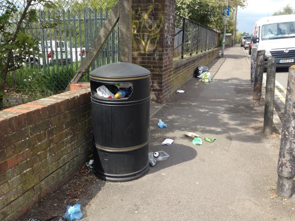 Lots of rubbish by bin opposite Hagley Road junction -266 Elgar Road South, Reading, RG2 0AU