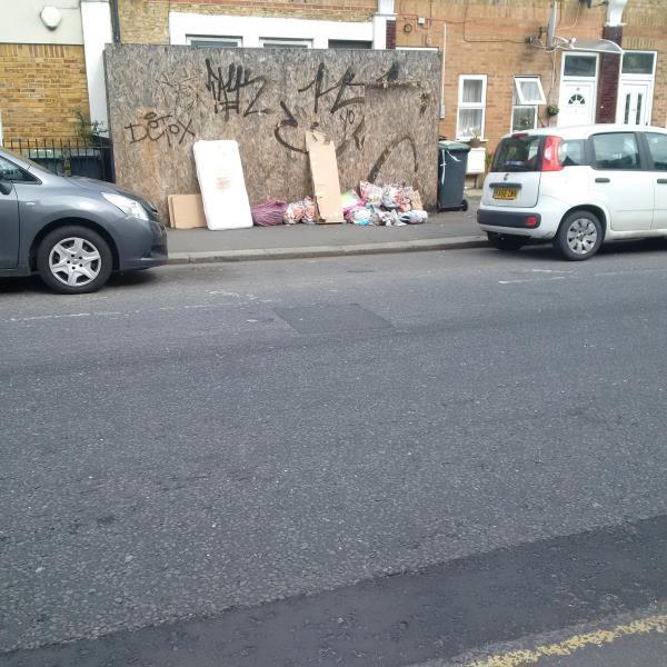Mattress, lots of bags, cardboard-39 Sangley Road