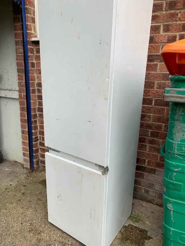 Fridge freezer dumped in 1st block of morse close as you turn into morse close needs picking up -18 Morse Close, London, E13 0HL