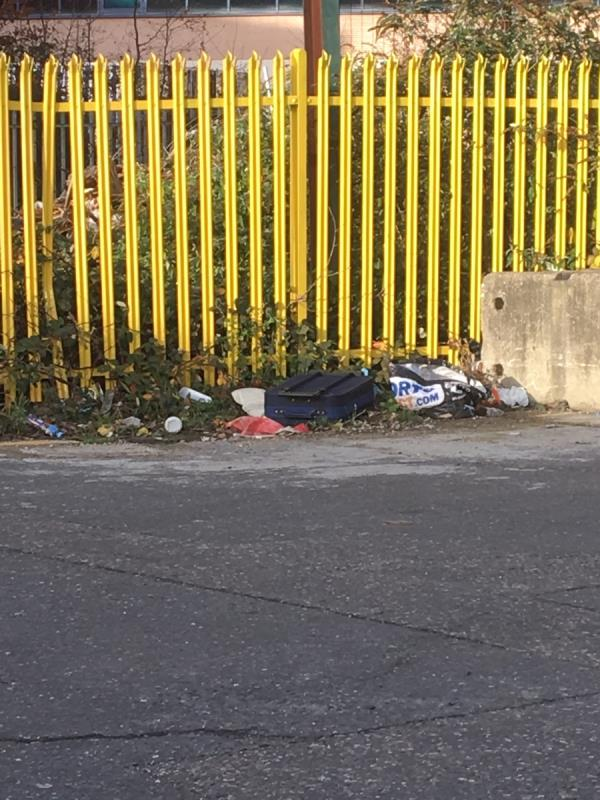 Suitcase, bags and general rubbish near entrance to Shutegarde  image 1-2 Oriental Road, London, E16 2BS