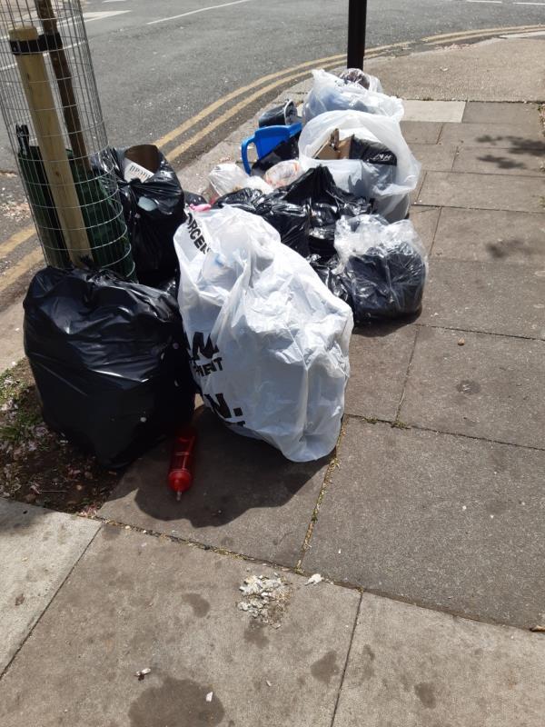 12 bags domestic waste -36 Grosvenor Road, East Ham, E6 1HB