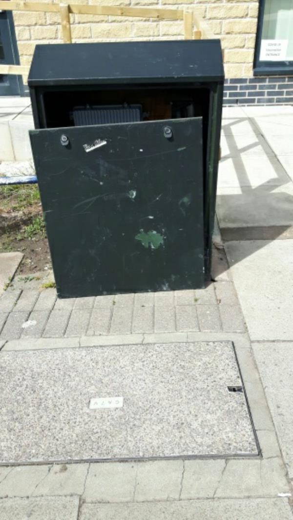 'Possible' interference with utility cabinet outside surgery Sturdee Road. Photo p.m.16/05/21-182 Sturdee Road, Leicester, LE2 9BA