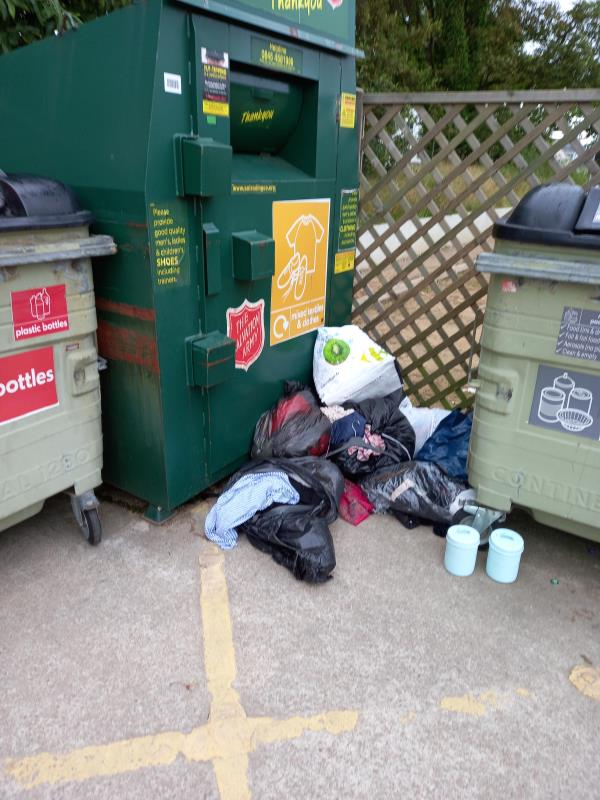 Salvation Army bin at St Martins recycling centre full and bags piling up outside -St Martins Hall E, Jersey JE3, Jersey