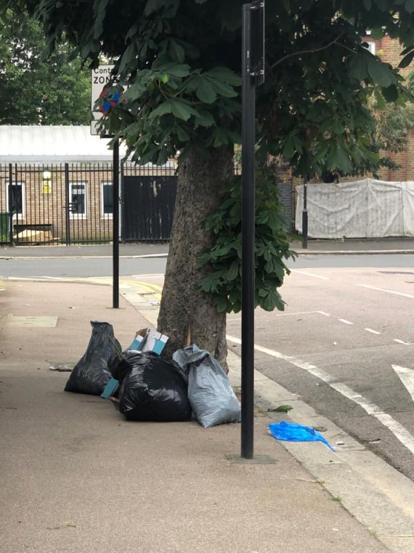 Rubbish on the street not collected yesterday, mote added today! -48 Chesley Gardens, East Ham, E6 3LN