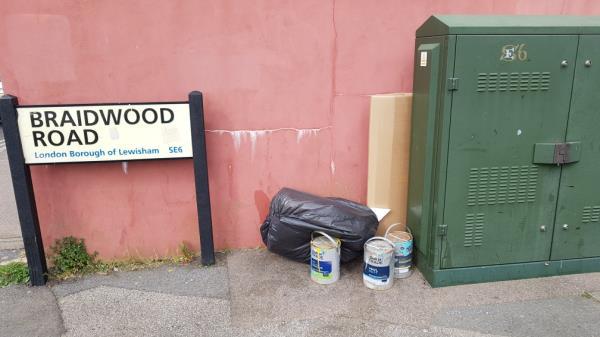 Paint tins etc end Braidwood Road -9a Muirkirk Road, London, SE6 1BE