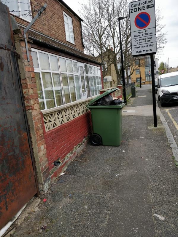 Large Wheelie bin obstruction on the pavement beside 56 Ash Road E15-56 Ash Road, London, E15 1QY
