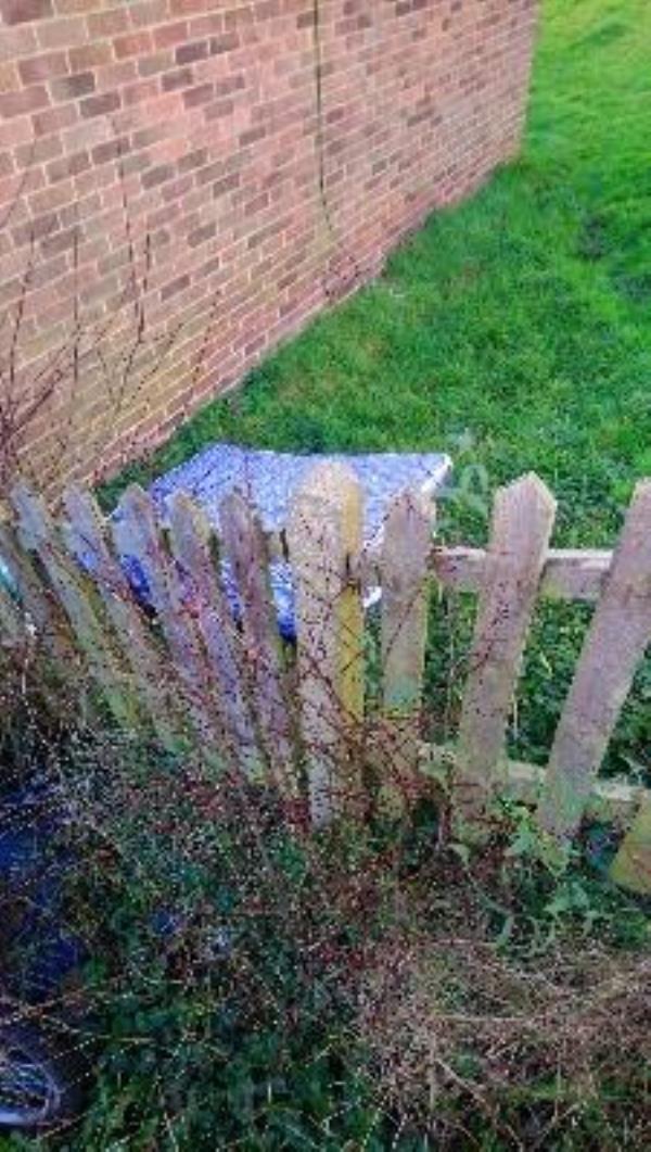 Fly tip in rear comm garden of 31-41 hadrians walk -24 Newcastle Road, Reading, RG2 7TR