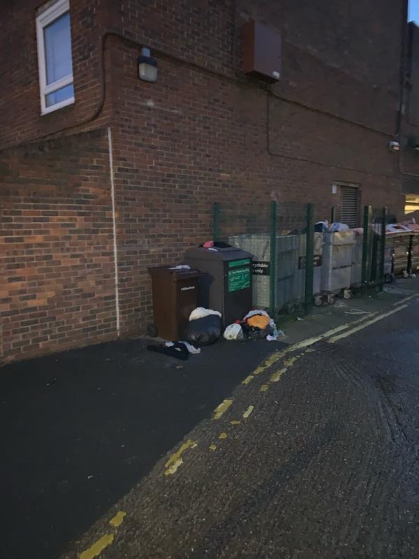 Rubbish near bins -53 Beck Road, London, E8 3RL