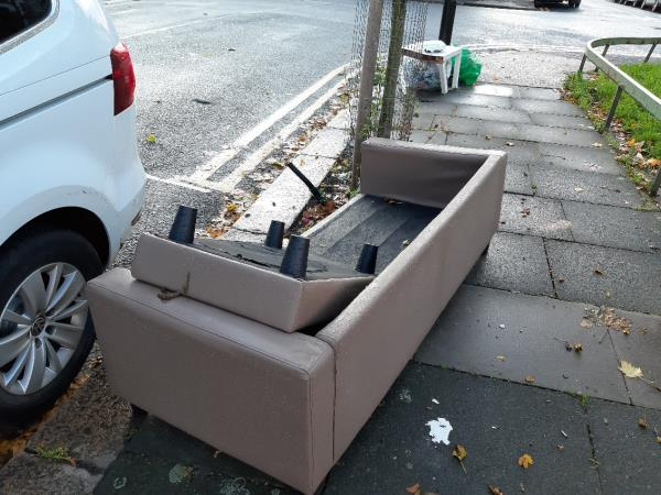 Furniture on pavement on Grosvenor Road, close to junction with Grangewood Street.-54 Grosvenor Road, London, E6 1HE