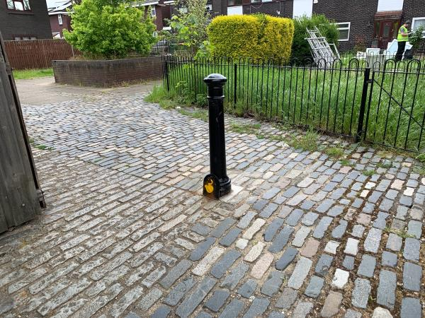 Lock on removable bollard cut-44 Ashton Road, London, E15 1DP