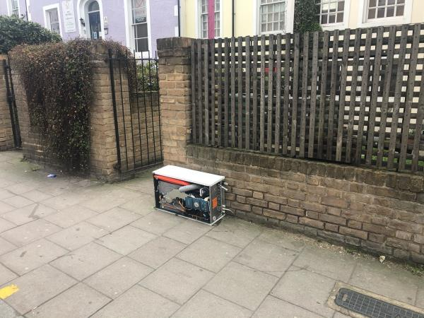 Gas boiler fly tipped on pavement -Piano Studios, 2 Belmont Hill, Lewisham, London SE13 5BF, UK