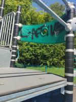Graffiti on the children's slide and climbing frame on Windsor Avenue playing fields  image 1-145 Windsor Avenue, Wolverhampton, WV4 4BJ