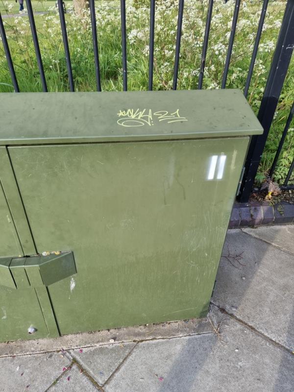 On utility box by post box-126 Uxbridge Road, London, UB1 3DP