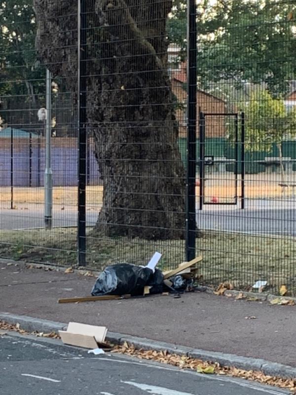 Pile of rubbish on pavement-25 Upton Avenue, London, E7 9PR