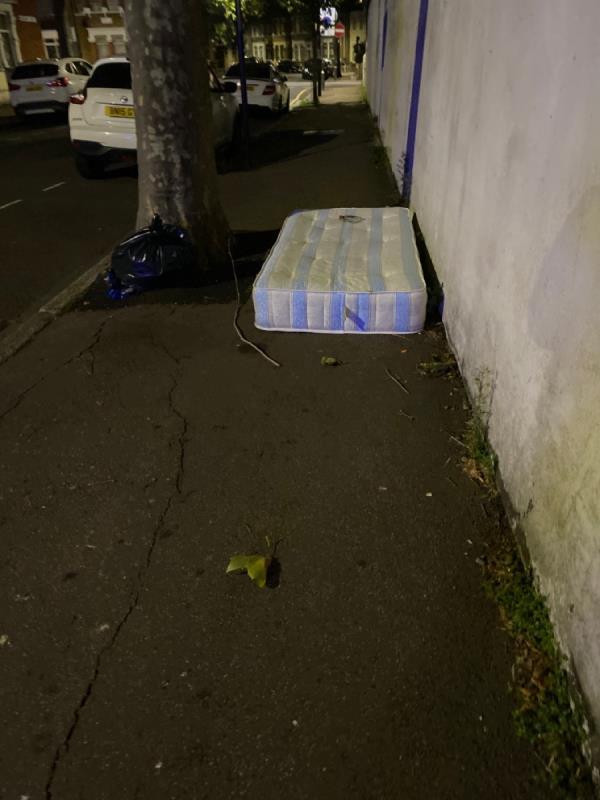 Mattress and black bag -102 Rosebery Ave, London E12 6PS, UK