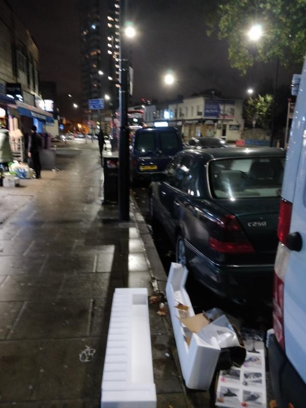 Polystyrene on the pavement at 92 Leytonstone Road E15-92 Leytonstone Road, London, E15 1TQ